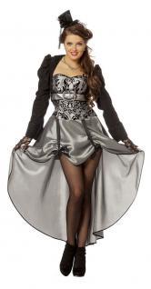 Rokoko Kleid Damen Baronin Kostüm Viktorianisches Kleid mit Jacke silber KK