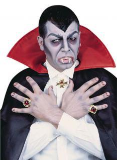 Draculazähne Vampirzähne mit Blutkapseln INKL. Halskette 2 Ringen Dracula Vampir