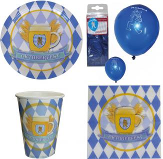 Oktoberfest Deko Party Set XL Bavaria 44 tlg blau-weiß Teller Becher, Servietten