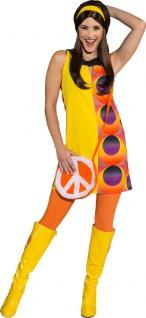 70er Jahre Kostüm Damen Retro Kleid 60er Outfit Fasching Karneval KK