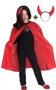 Teufel Kostüm Kinder Umhang MIT Teufelshörner Devil Lucifer Halloweenkostüm KK