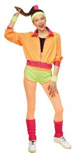 80er Jahre Kostüm Damen New Kids Assi Proll Neon Stulpen Karneval Damenkostüm KK