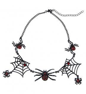 Schmuck Spinne Strassspinne Halskette Spinnenhalskette Strass Halloween KK