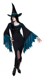Halloween Hexenkostüm-e Damen blau schwarz Hexen-Kleid KK