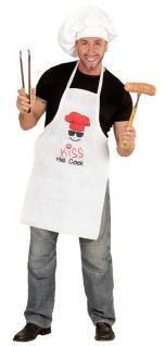 Koch Kostüm Kochschürze Küchenschürze Männer Damen lustig Karneval Fasching KK