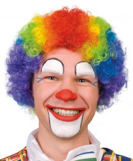 Karneval Klamotten Kostüm Perücke Clown Locken Regenbogen Zirkus Karneval