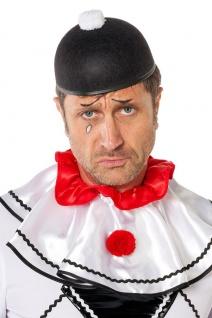 Karneval Klamotten Hut Pierrot schwarz mit Pompon weiß Zubehör Fasching