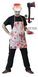 Zombie Horror Kostüm Herren blutige Schürze Halloween Axt mit Blut KK