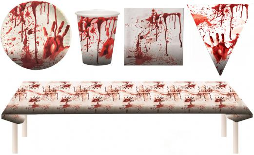 Blutiges Party Set XXL Halloween Horror Blut 38 Teile Teller, Becher, Servietten