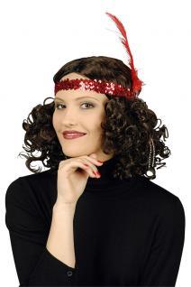 Kopfschmuck Charleston Stirnband Haarband Pailletten rot 20er 30er Karneval KK