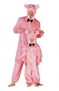 Schwein-Kostüm Herren Plüsch Schweinchen Overall Fliege Herrenkostüm Karneval KK