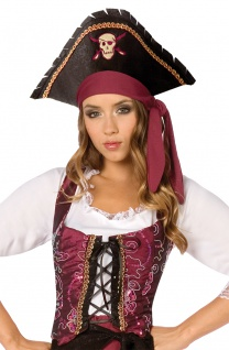 Piratenkostüm Damen Piratin Weste bordeaux Karneval Fasching KK