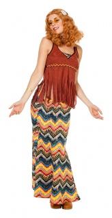 Flower Power Love Peace Hippie Kostüm Damen Hippierock Top Fransen 60er Jahre KK