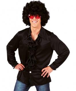Rüschenhemd Disco-Hemd Schlagerhemd Show schwarz Herrenhemd Herren-kostüm KK