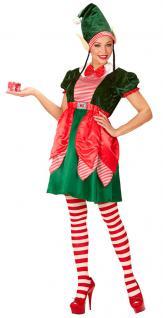 Weihnachtself Kostüm Damen Weihnachtswichtel Weihnachtselfen-Kleid mit Mütze KK