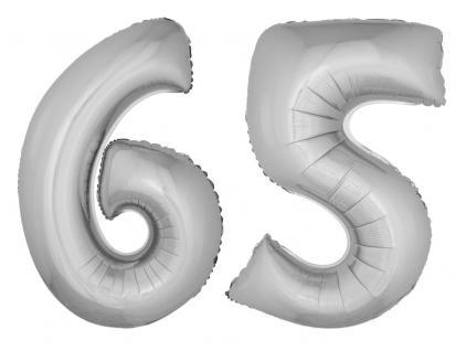 Folienballons Luftballon-SetXXL Zahl Geburtstag 65 Jahre silber Party Dekoration