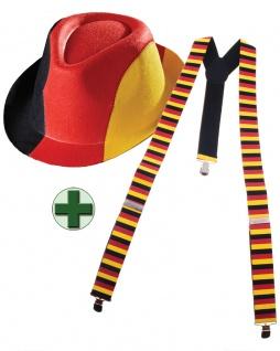 Hosenträger Deutschland mit Party Fan Hut Fan-Artikel EM WM Herren Fußball KK