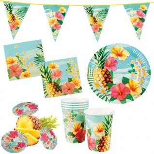 Sommer Party Deko Set Hawaii 31: Teller Becher Servietten Schirmchen Wimpelkette