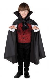 Karneval Klamotten Kostüm Umhang schwarz Kind Halloween Horror Dracula