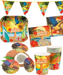 Sommer Party Deko Set Hawaii 31: Teller Becher Servietten C-Schirmchen Girlande