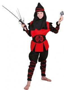 Ninja Samurai Kämpfer Kostüm Kinder rot-schwarz Jungenkostüm Fasching Karneval K