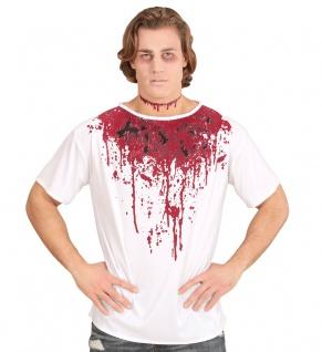 blutiges Herren Horror-Kostüm Shirt Blut Zombie Halloween Karneval Fasching KK