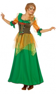Waldfee Kostüm Damen Herbstfee Fee Damen-Kostüm grün lang Elfe-n Kostüm KK