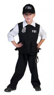 Karneval Klamotten Kostüm FBI Agent Kostüm Junge Karneval Polizei Jungenkostüm