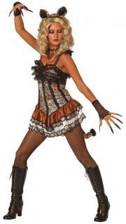 Leoparden Kostüm Damen Leopard-Kleid Raub-Katze Puma Ohren Damenkostüm Karneval