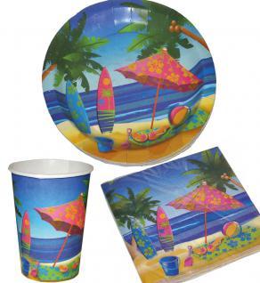 Party Set Sommer Beach 32 Teile Strand-Motiv Teller, Becher, Servietten