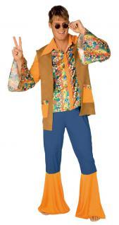 Hippie Hippie-kostüm Flower Power 60er 70er Groovy Herren-Kostüm KK