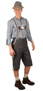 Oktoberfest Lederhose Herren Kostüm Bayer + Hemd Trachten Tirol Herrenkostüm KK