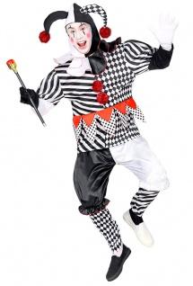 Clown Kostüm Herren Narr Pierrot Harlekin schwarz weiß rot Karneval KK