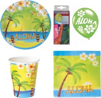 Party Set XL Hawaii Sommer Aloha 48 Teile Teller, Becher, Servietten, Geschirr