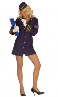 Stewardess Kostüm Flugbegleiterin Damenkostüm Uniform blau Karneval Fasching KK