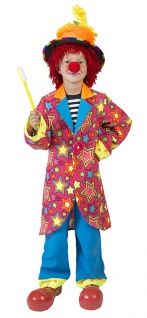 Clown Kostüm Kinder Jungen bunt Clownsfrack Hose Sterne Kinderkostüm Fasching KK