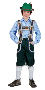 Oktoberfest Tirolerhemd blau weiss kariert Kostüm Kinder Bayernhemd Trachten KK