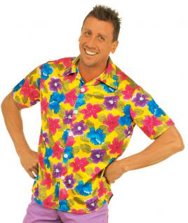 Hawaii-hemd Hawaii Kostüm Aloha-Shirt Blumen gelb Herren-kostüm KK