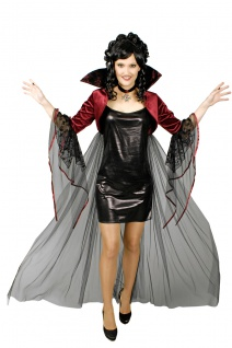 Vampir Kostüm Damen Umhang Stehkragen Halskette Halloween Fasching Karneval KK