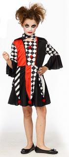 Horror Clown Kostüm Mädchen Pierrot schwarz weiß rot Halloween KK