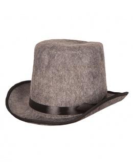 Zylinder Hut grau Herren Damen mit Band schwarz Filzhut Karneval Fasching KK
