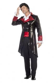 Frack Pailletten Herren Kostüm schwarz rot Herrenfrack Fasching Karneval KK