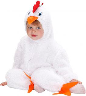 Karneval Klamotten Kostüm Hühnchen weiß mit Kopf Baby Karneval Tier Kinderkostüm