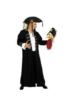 Piratenkostüm Kostüm Pirat Herren Freibeuter Seeräuber schwarz-silber Fasching K
