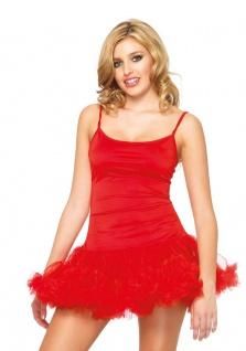 Petticoat Kleid mit Tüllrock Unterrock rot Damen Kostüm Fasching Karneval KK
