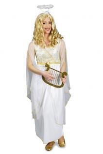 Engelskostüm Engel Kostüm Damen Kleid weiß-gold Weihnachten Damenkostüm KK
