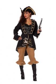 Piratenkostüm Damen Piratin Komplett Kostüm schwarz gold Piratenbraut Fasching K
