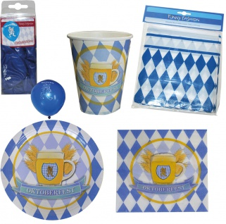 Oktoberfest Deko Dekoration Party Bayern Partygeschirr Ballons Raute 45 tlg KK