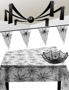 Grusel Party Deko Girlanden Tischdecke Spinnen Korb Riesen-Spinne KK
