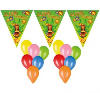 Deko Set Wimpelketten, Luftballons Aloha Hawaii Tiki 22 tlg. Wimpel/Girlande